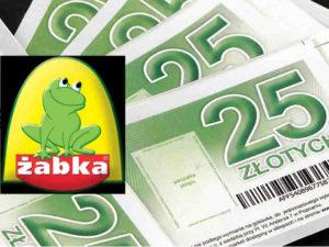 logo żabki na tle bonów